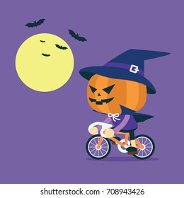 Pumpkin man ride bicycle in Halloween day