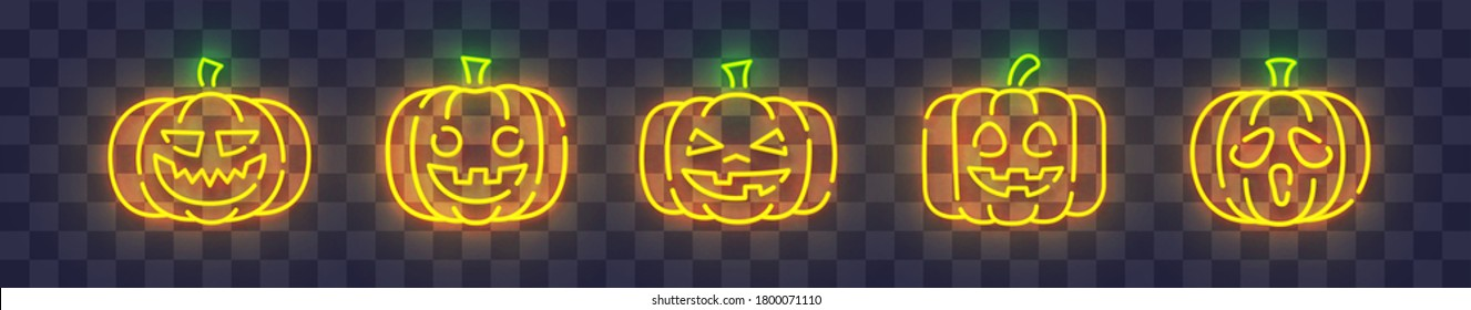 Pumpkin neon sign, bright signboard, light banner. Halloween logo neon, emblem. Vector illustration