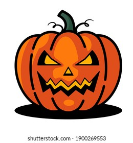 Pumpkin on white background. The Happy Halloween holiday. Orange pumpkin with scary smile. Vector illustration for design, postcards, banner.