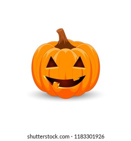Pumpkin on white background. The main symbol of the Happy Halloween holiday. Orange pumpkin with smile for your design for the holiday Halloween. Vector illustration.