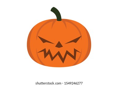 Pumpkin on white background.The main symbol of the Happy Halloween holiday.Sign In Orange pumpkin with smile for your design Halloween.Vector illustration.