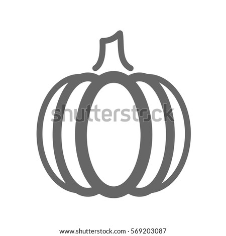 Pumpkin Outline Icon Vegetable Vector Illustration Stock Vector