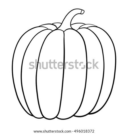Pumpkin Outline Vector Illustration Isolated On Stock Vector
