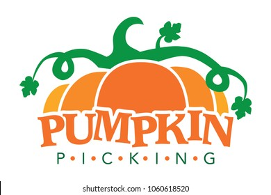 Pumpkin picking logo, pumpkin sign