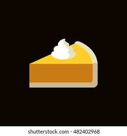 a pumpkin pie icon in flat style