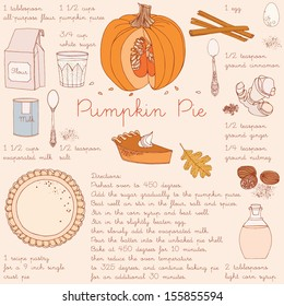 Pumpkin pie recipe. Thanksgiving Day card.