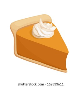 Pumpkin pie slice. Vector illustration.