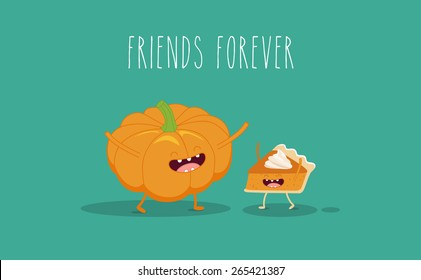 Pumpkin pie. Pumpkin vector cartoon. Friends forever. ?omic characters.