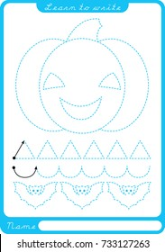 Pumpkin. Preschool worksheet for practicing fine motor skills - tracing dashed lines. Tracing Worksheet.  Illustration and vector outline - A4 paper ready to print.