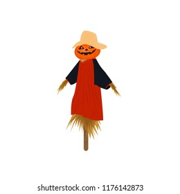 Pumpkin scarecrow isolated on white background illustration vector for Halloween night festival