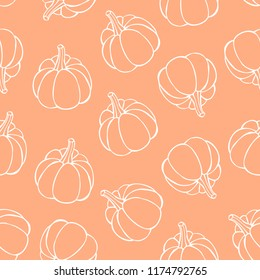 Pumpkin seamless pattern. Pumpkin background foe Harvest festival or Thanksgiving day. Vector repeating print