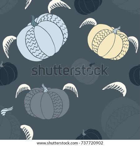 pumpkin seamless pattern cute fun halloween stock vector royalty