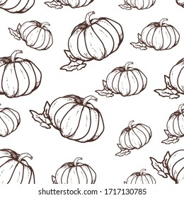 Pumpkin seamless pattern, harvest festival, sketch, outline illustration