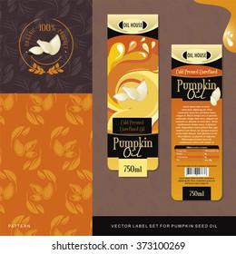 Pumpkin Seed Oil vector label set
