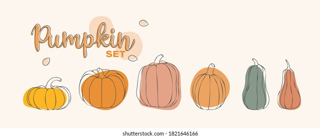Pumpkin set. Vector illustration concept for Thanksgiving or Halloween day. Stylized pumpkins in various sizes and colors. For postcards, paper, textiles. Autumn concept and vegetable compositions