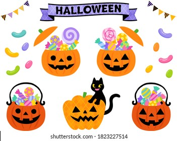 Pumpkin shaped candy container & basket illustration for Halloween