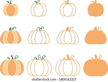 Pumpkin Shapes Outlines and Stencils Vector Illustration Set