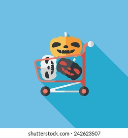 pumpkin shopping flat icon with long shadow,eps10