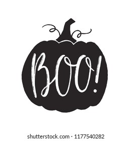 Pumpkin silhouette with hand drawn lettering. Vector illustration
