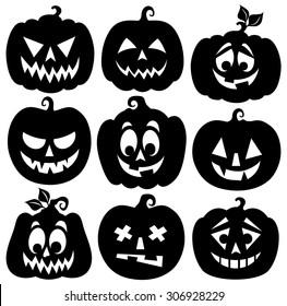 Pumpkin silhouettes theme set 1 - eps10 vector illustration.