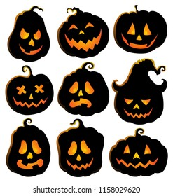 Pumpkin silhouettes theme set 4 - eps10 vector illustration.