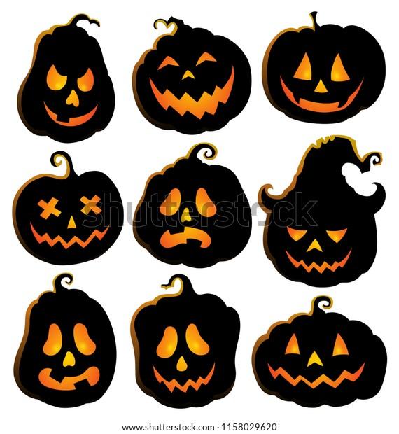 Pumpkin silhouettes theme set 4 - eps10 vector illustration.