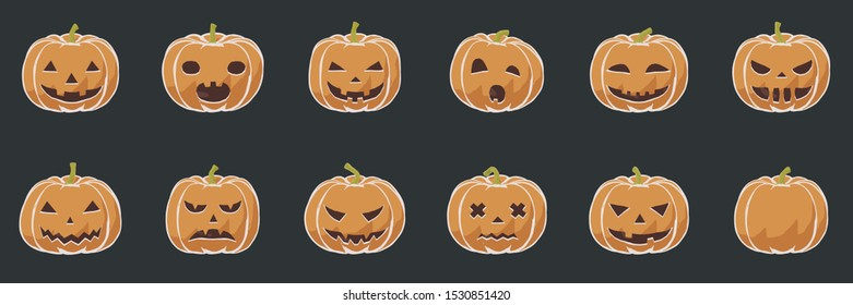 Pumpkin smile icons for Halloween scary and creepy autumn vector illustration in simple flat toon drawing for kids. Isolated design of season for party greeting card with beautiful sign for banner.