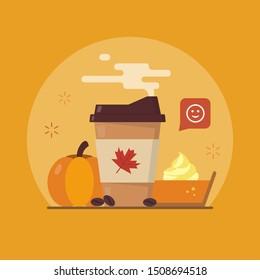 Pumpkin spice latte season. Autumn coffee and a piece of pumpkin pie. Flat vector illustration.