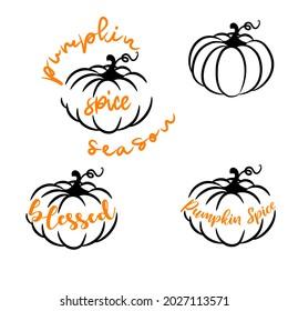 Pumpkin spice season vector icons outline style. Fall seasonal pumpkin designs for cut decor.