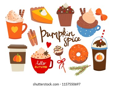 Pumpkin spice. Various tasty stuff. Colored vector set. All elements are isolated