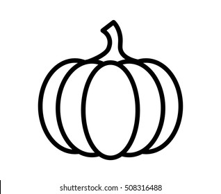 Pumpkin - squash for Halloween or Thanksgiving line art vector icon for apps and websites