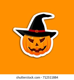 Pumpkin sticker on an orange background. The main symbol of the Happy Halloween holiday. Orange pumpkin with smile for your design for the holiday Halloween. Vector illustration.