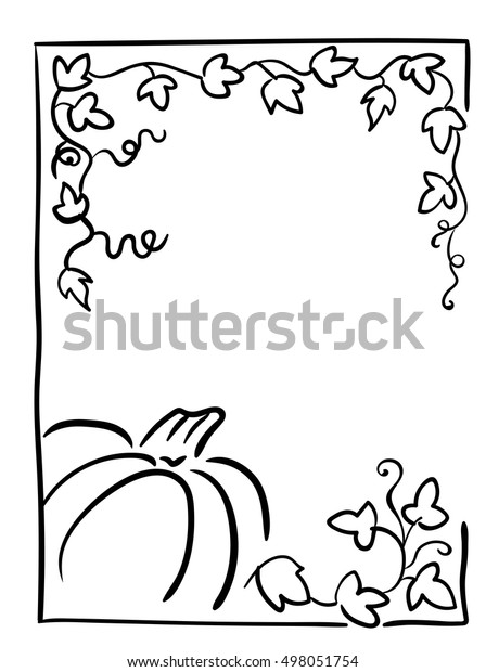 Pumpkin Tendrils Large Lobed Leaves Halloween Stock Vector (Royalty