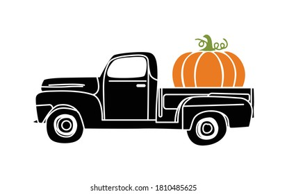 Pumpkin Truck vector, Fall Vintage Truck with Pumpkin Illustration on White Background