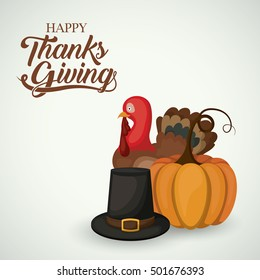 Pumpkin turkey and hat of Thanks given design