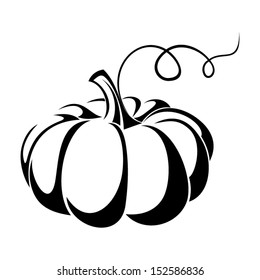 Pumpkin. Vector black silhouette.