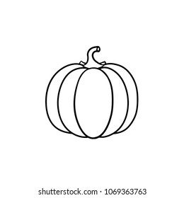 Pumpkin vector hand drawn outline doodle icon. Healthy vegetable - pumpkin vector sketch illustration for print, web, mobile and infographics isolated on white background.