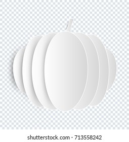 Pumpkin vector on transparent background. Halloween fruit in folded paper styles. Food icon.