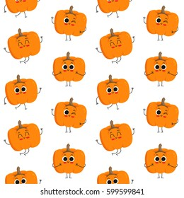 Pumpkin, vector seamless pattern with cute vegetable characters isolated on white
