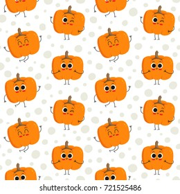 Pumpkin, vector seamless pattern with cute vegetable characters on dotted background