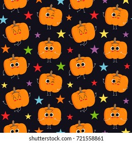 Pumpkin, vector seamless pattern with cute vegetable characters on dark background with colorful stars