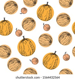 Pumpkin. Vector seamless pattern. Hand drawn vector illustration. Repeated background texture for fabric, textile, wrapping paper, wallpaper surface design