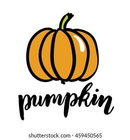 pumpking illustration with hand drawn ink lettering, pumpkin emblem, vegan lettering print