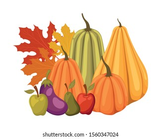 Pumpkins apple egglant and pear design, Fruit autumn healthy organic food sweet and nature theme Vector illustration