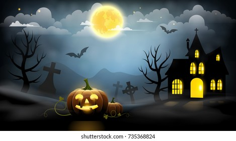 Pumpkins, cemetery and a haunted house on a blue background. Halloween night landscape.