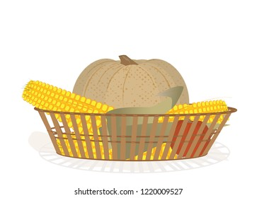 Pumpkins and corns in a wicker basket