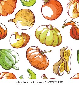 Pumpkins hand drawn vector color seamless pattern. Seasonal vegetables drawings on white background. Autumn harvesting season decorative texture. Gourds wrapping paper, textile, wallpaper design
