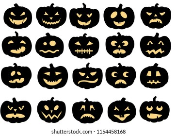 Pumpkins icons. Vector black halloween pumpkin silhouette set isolated on white background. Set of emoticon pumpkins.