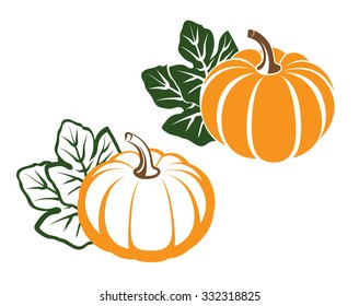 Pumpkins with leaves. silhouette on white background. Vector illustration