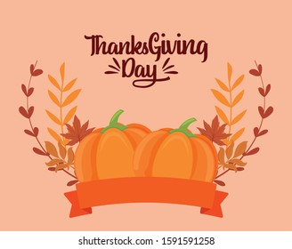Pumpkins and leaves of thanksgiving day design, Autumn season holiday greeting and traditional theme Vector illustration